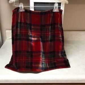 Velvet plaid skirt